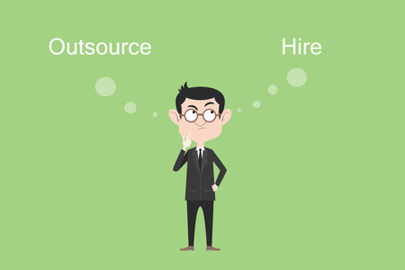 contracting: outsource or hire concept businessman confuse and think vector graphic illustration