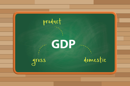 green board: gdp gross domestic product concept with alphabet text on top of the green board vector graphic illustration