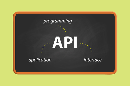 api: api application programming interface on text on the blackboard with chalk effect vector graphic illustration