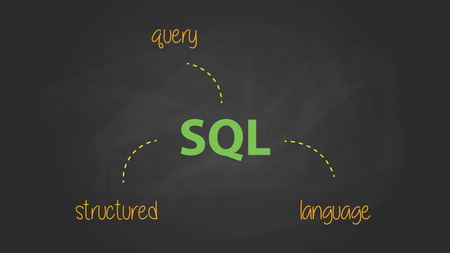 structured: sql structured query language text symbol written on the blackboard vector graphic illustration