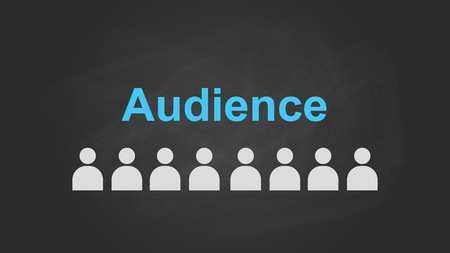 aligning: audience text concept with user icon symbol aligning on top of blackboard vector graphic illustration