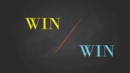 win win: win win solution concept written on the text with blackboard and chalk effect vector graphic illustration