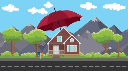seguro de la casa signo o símbolo de protección con el paraguas y las montañas como fondo de vectores ilustración gráfica