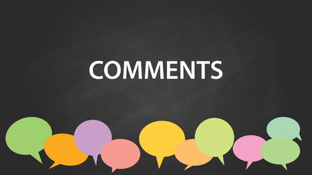 comments with blackboard and colourfull comment bubble with chalkboard effect vector graphic illustration