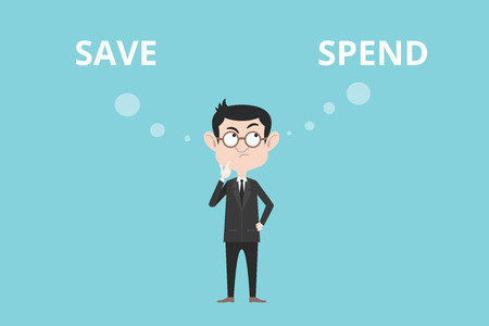 spend: save or spend concept with businessman standing confuse to choose between two option vector graphic illustration Illustration