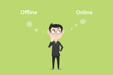 online of offline concept with businessman standing confuse to choose between two option vector graphic illustration