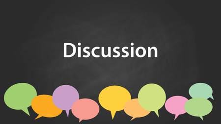 colourfull: discussion with blackboard and colourfull discuss bubble with chalkboard effect vector graphic illustration Illustration