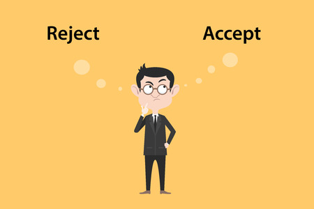 approvement: reject or accept concept with businessman standing confuse to choose between two option vector graphic illustration