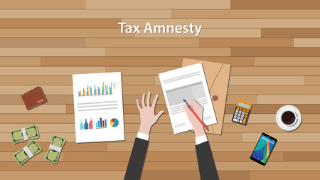 tax amnesty with businessman hand signing a paper document with graph and chart with money vector graphic illustration