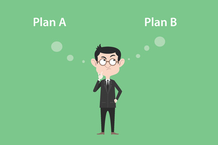 plan b: plan a or plan b concept with businessman standing confuse to choose between two option vector graphic illustration Illustration