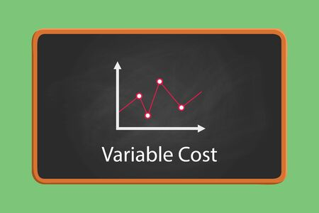 variable: variable cost concept illustration with graph and chart with blackboard and chalkboard effect vector graphic