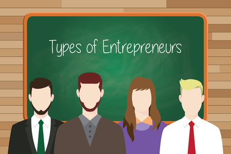 lining up: types of entrepreneurs concept illustration with green board as background and businessman lining up on front vector graphic