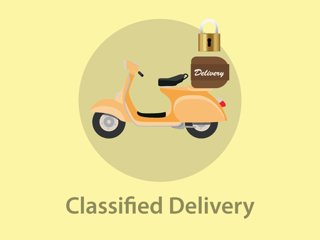 postage: classified delivery illustration with motor bike and padlock as sign symbol