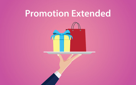 promotion extended illustration with hand give a plate with shopping bag and gift box Vector Illustration