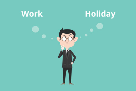 confuse: work or holiday business man confuse to choose between this two option vector