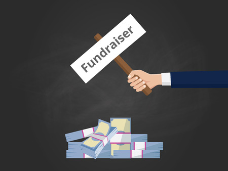 fundraiser: fundraiser illustration with businessman hold a stick paper with cash money vector