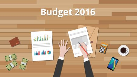 new years resolution: budget 2016 illustration with hand business man work on wooden table with graph and chart and paper document with money vector