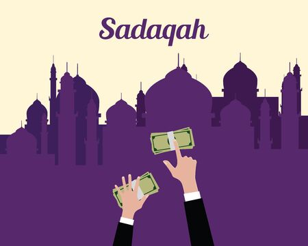 give money: sadaqah concept moslem islam give money with hand view from top with mosque background vector