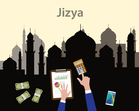 jizya islam moslem concept like tax give to government concept with hand using calculator with graph and chart and some cash moe vector