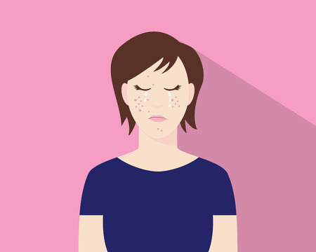 because: women crying because of his acne or pimple illustration with pink background vector