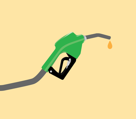 petrol pump: fuel pump with drop gasoline with yellow background vector