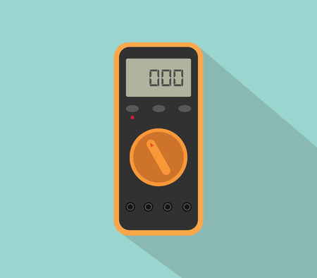 amperage: multimeter digital tools voltage with flat color and long shadow vector