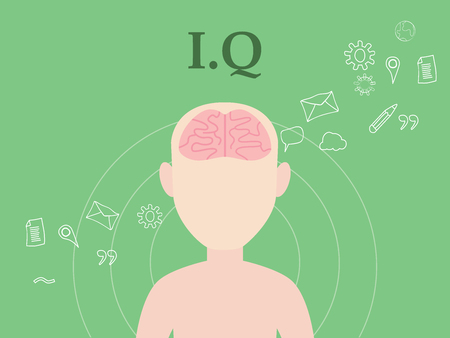 iq: iq intellectual question illustration concept with people with icon education and tools as background vector