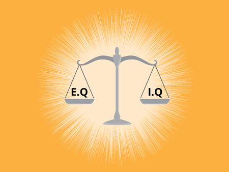 iq: iq or eq intellectual or vs emotional question compare on a scale with yellow background vector