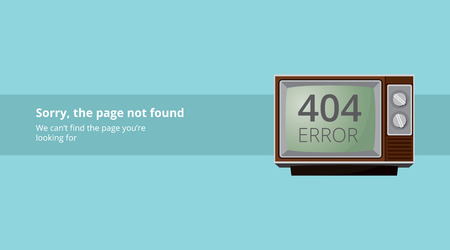 404 error page not found with old vintage tv television
