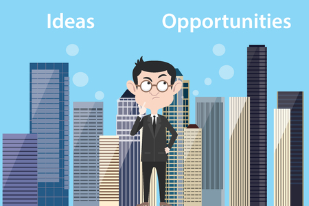 ideas vs opportunities concept with businessman think about choose between ideas vs opportunities vector