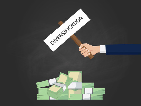 financial diversification: diversification business concept illustration with businessman hand holding a banner on top of cash money vector Illustration