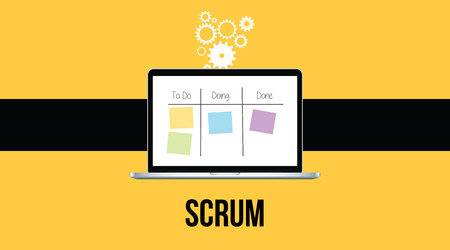 scrum: scrum methodology with laptop and sticky notes with yellow background vector Illustration
