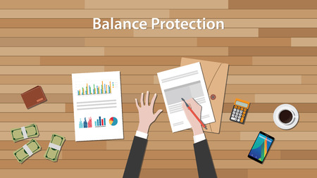 wooden work: balance protection concept with business man work on paper document with chart and graph on top of wooden table vector Illustration
