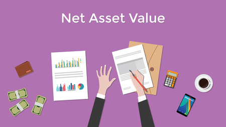 nav: net asset value nav illustration with business man working on paper document graph paper document money and signing a paper vector Illustration