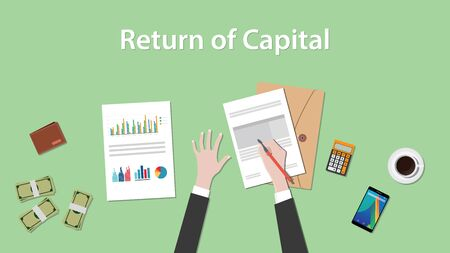 stockmarket chart: return of capital illustration with business man working on paper document graph paper document money and signing a paper vector