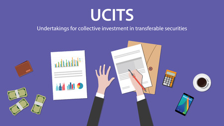 transferable: ucit undertakings for collective investment in transferable securities concept with businessman work on paper document with graph chart money and wallet vector