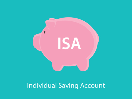 isa individual saving account concept with piggy bank and text poster vector
