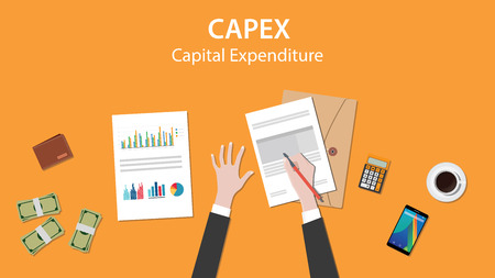 capex capital expenditure illustration with business man working on paper document graph paper document money and signing a paper vector Stock Illustratie