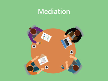 mediation: mediation illustration concept a member team or people with mediator negotiate about something on table or desk view from top vector