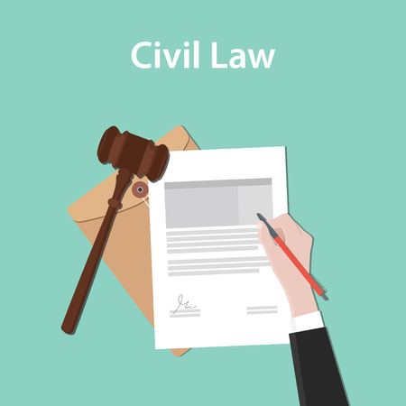 civil law illustration concept a business man hand signing a paper document with flat style with gavel vector Vettoriali