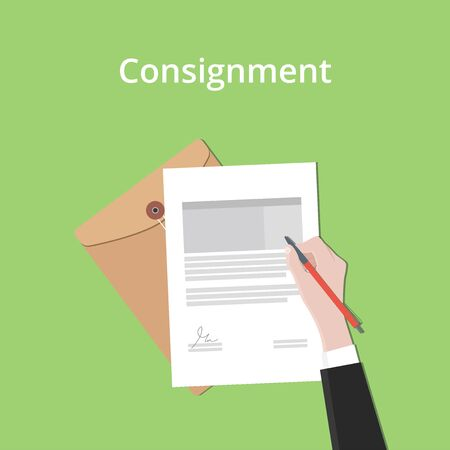 consignment: consignment illustration concept a business man hand signing a paper document with flat style vector