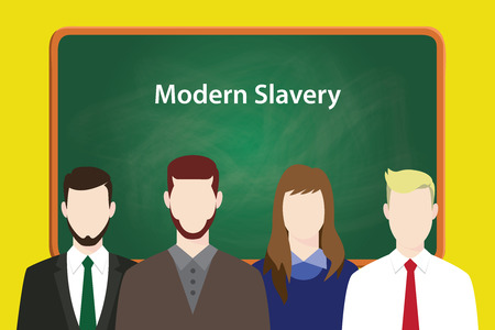 odd jobs: modern slavery illustration concept with business man and woman lining up together in front of blackboard or green board vector