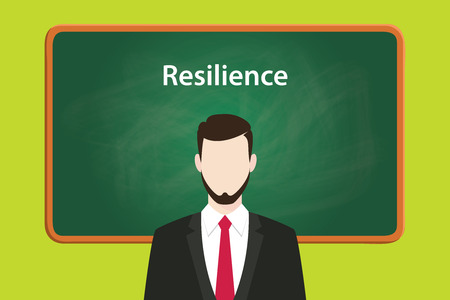 resilience illustration concept with business man standing on front of blackboard or greenboard using suit vector