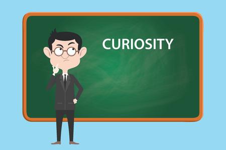 생각하거나 호기심에 대한 배경 벡터와 보드와 함께 호기심 개념 그림 비즈니스 사람 일러스트