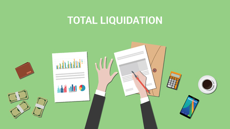 liquidation: total liquidation concept illustration with business man working on a paper work document and signing a graph and chart vector