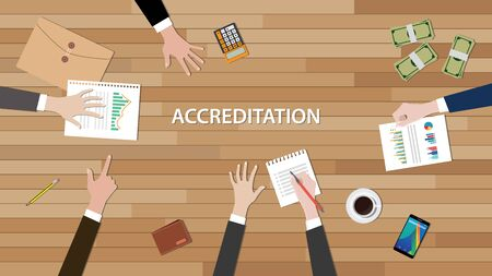 work table: accreditation concept illustration with team people work together with paperwork graph chart and document on top of wooden table vector Illustration