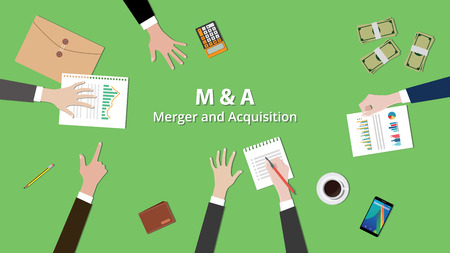 m and a merger and acquisition concept illustration team work together on the same table with view from top vector