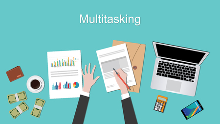 tasker: multi tasking concept illustration with businessman working on paperwork document with laptop and hand vector