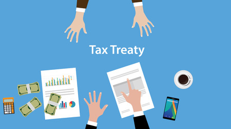treaty: tax treaty concept illustration with two business man negotiate on the table view from top illustration