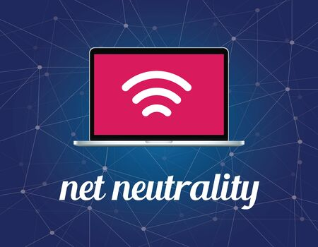 net neutrality concept illustration with signal wifi symbol on the screen laptop and galaxy background illustration Vettoriali